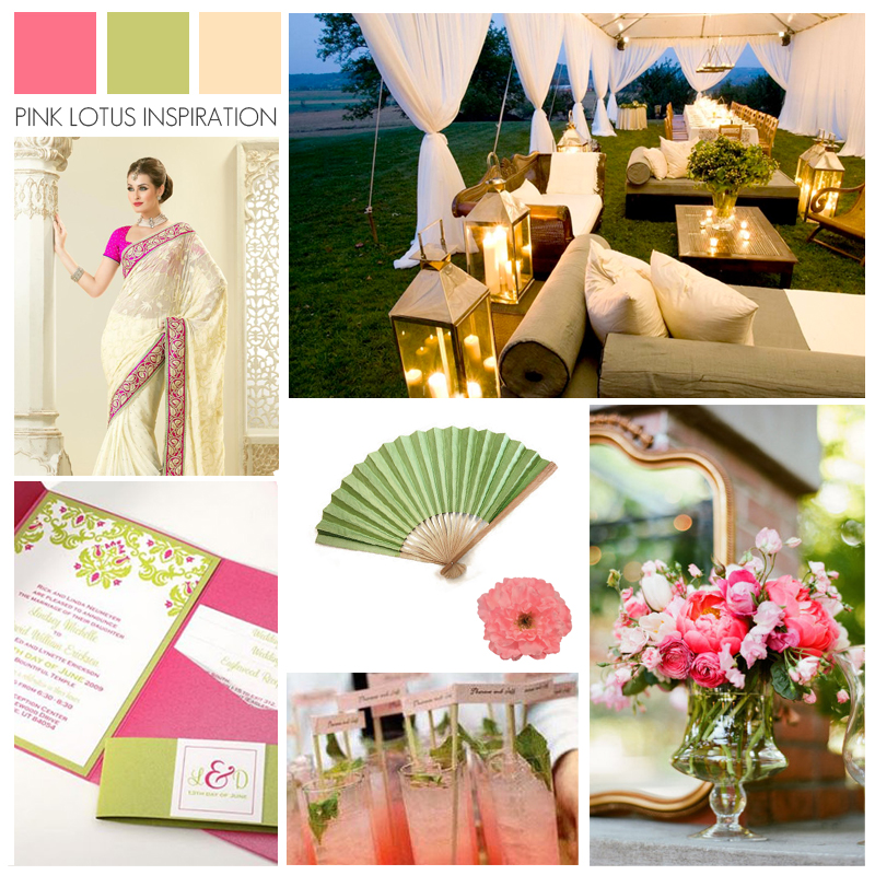 Wedding Inspiration Color Board - Pink Green Cream - Pink Lotus Events
