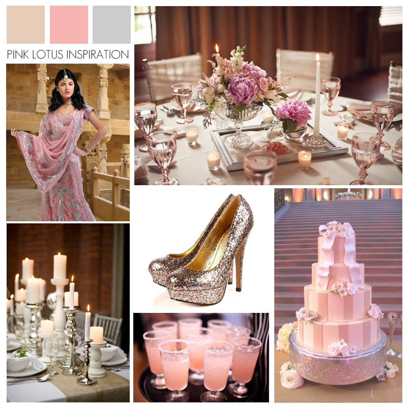 Wedding Color Board Inspiration - Champagne Gold Pink Silver - Indian Wedding Planner