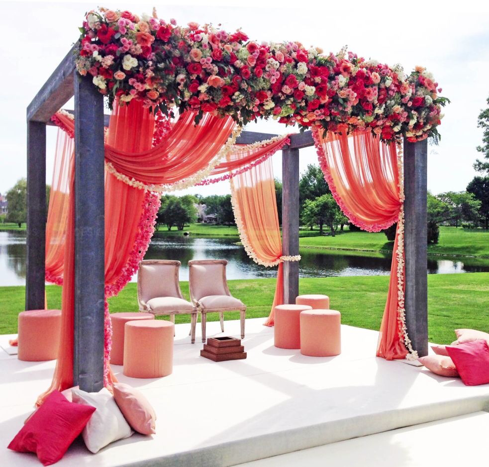 Mandap Pink Lotus Events: simple flower decoration ideas